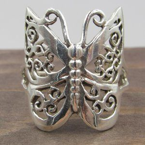 Size 9 Sterling Silver Large Butterfly Band Ring